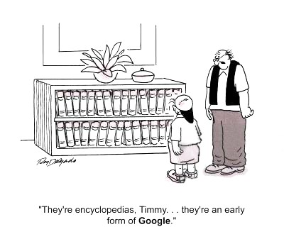 'They're encyclopedias, Timmy... They're an early form of Google.'